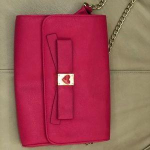 Betsey Johnson hot pink clutch